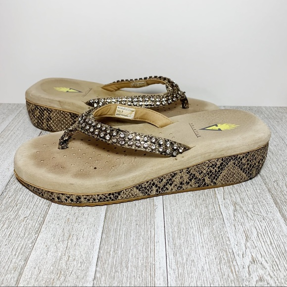 Snakeskin Print Rhinestone Wedges Thong Sandals
